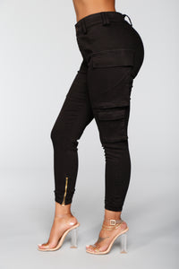 Kalley Cargo Pants - Black Angle 4