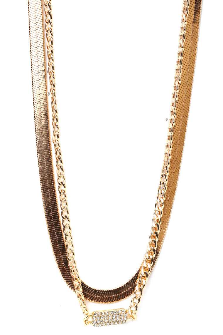 Chain In Heart Necklace - Gold