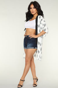 Let It Fall Kimono - White/Combo