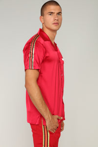 Olympic Track Short Sleeve Woven Top - Red