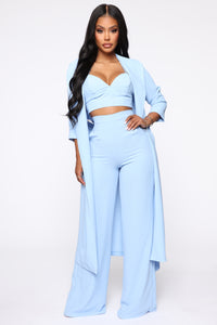 Everly 3 Piece Pant Set - Light Blue