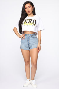 Zero Fucks Given Crop Top - White Angle 2