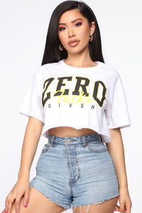 Zero Fucks Given Crop Top - White Angle 1