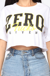 Zero Fucks Given Crop Top - White Angle 6