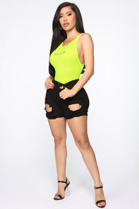 You're Too Close Bodysuit - Neon Yellow Angle 3