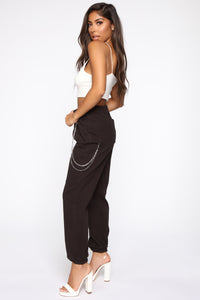 2 Chained Cargo Joggers - Black