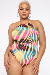 I'm All Yours Zebra Print Bodysuit - MultiColor Angle 7