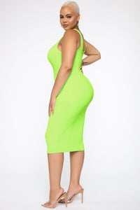 Gigi Midi Dress - Neon Lime