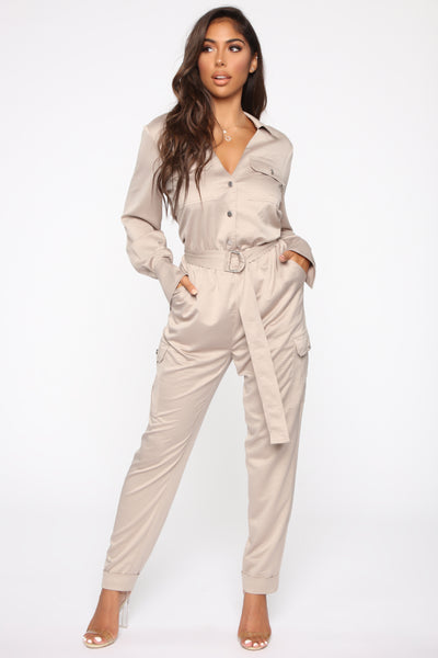 Collared Button Front Belted Elasticized Waistline Satin Long Sleeves Jumpsuit