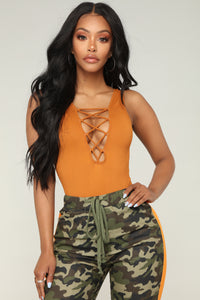 Angela Lace Up Bodysuit - Rust