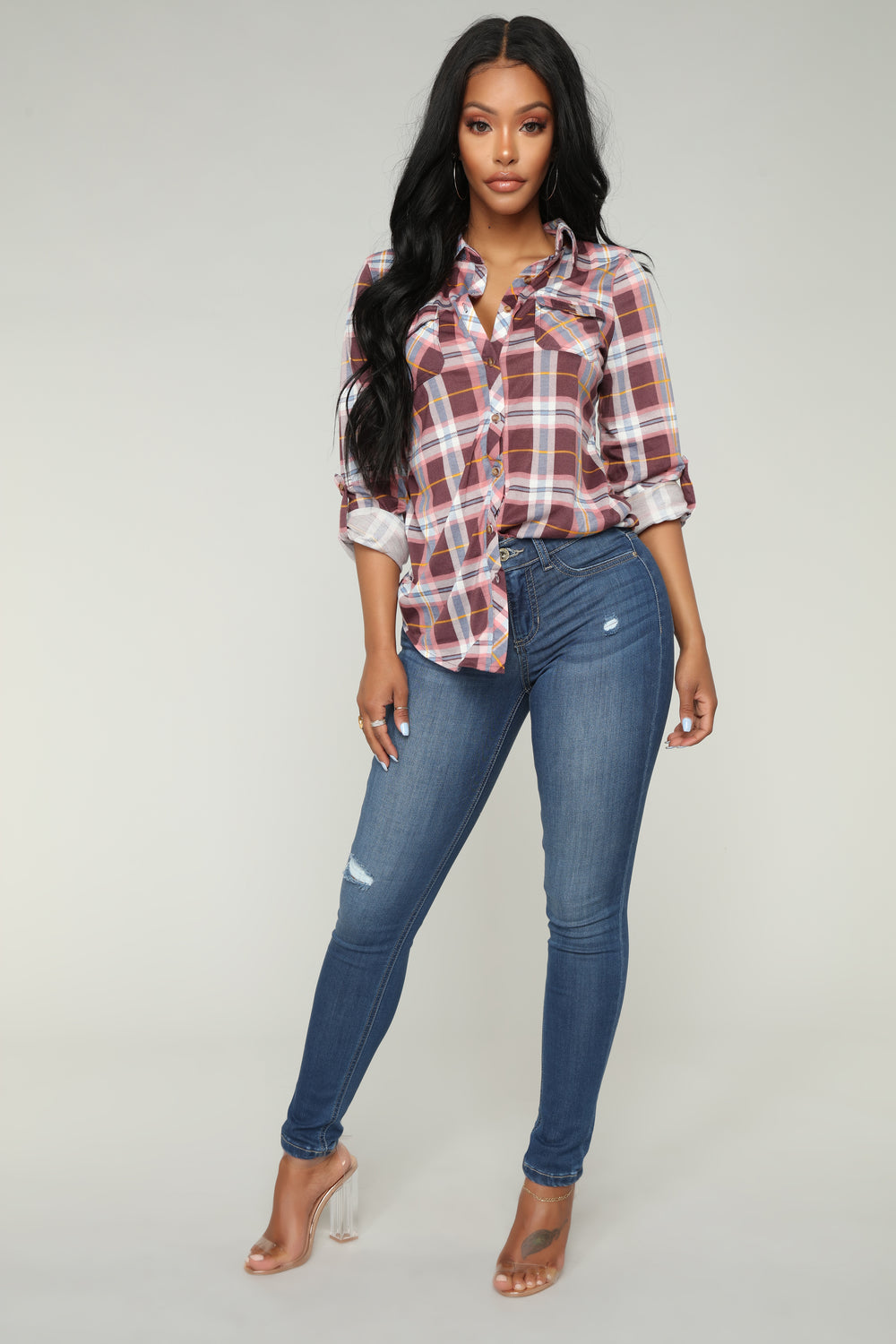 Lounge Lover Long Sleeve Plaid Top - Plum/Combo