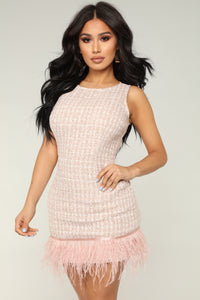 The Elegance Tweed Mini Dress - Pink