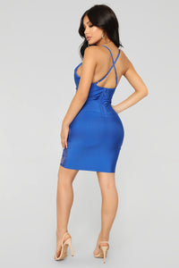 Love In Lace Mini Dress - Royal