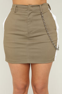 So Chained To You Skirt - Olive