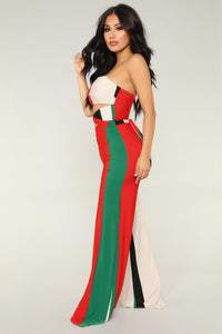 Show Off Striped Jumpsuit - Green/Multi