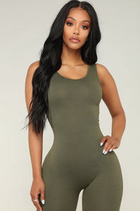Need A Boost Jumpsuit - Olive