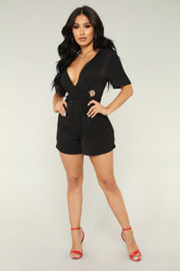 Foil The Plan Romper - Black Angle 1