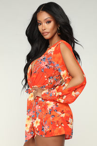 Brunch At Noon Floral Romper - Tomato