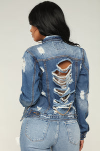 Distressed Chain Back Denim Jacket - Medium Blue Wash