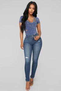 Wreckless Youth Bodysuit - Blue Combo