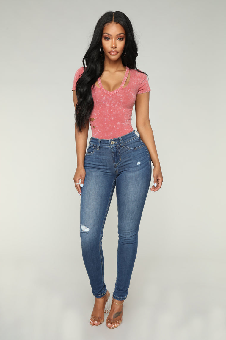 Wreckless Youth Bodysuit - Rose