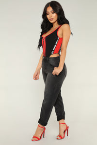 Take Off Bodysuit - Black/Red