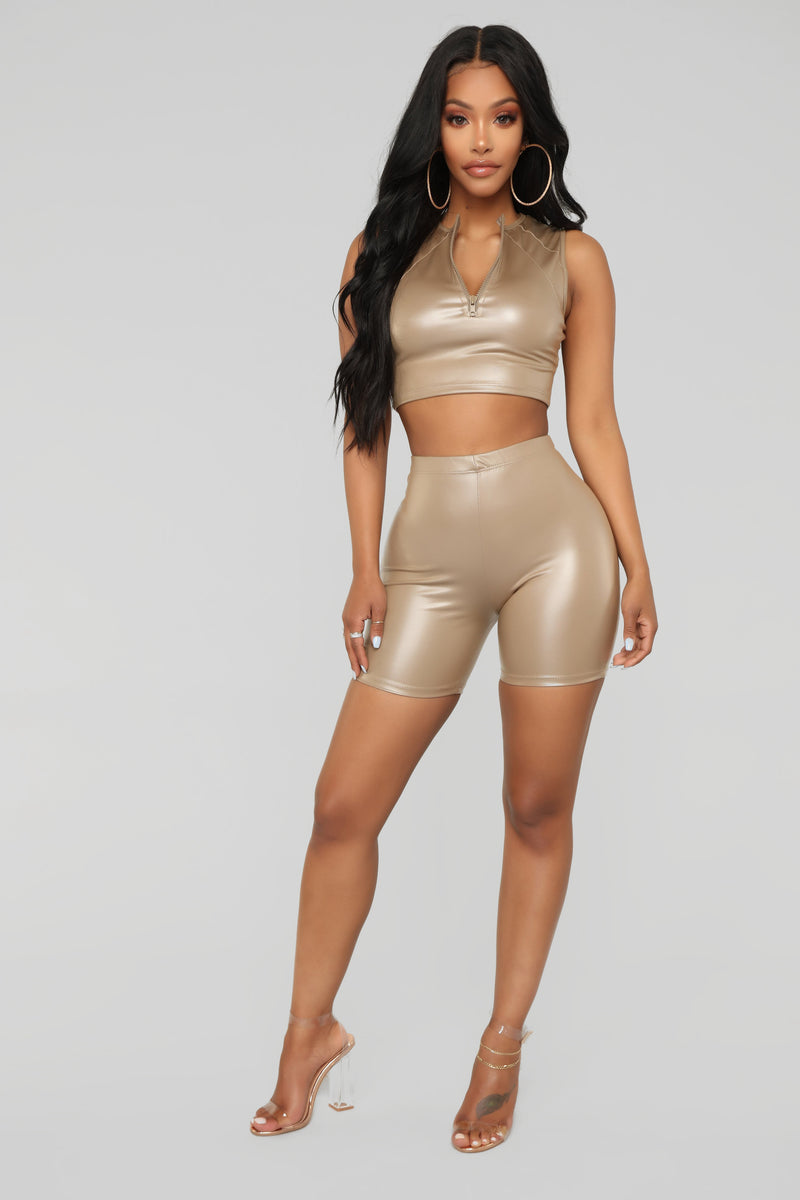 Black Heart Biker Short Set - Mocha