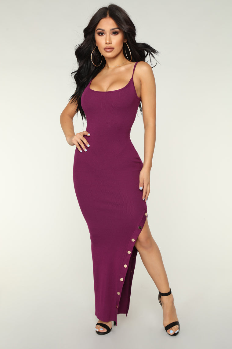 Lindsay Knit Dress - Plum