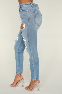 Monica High Rise Ankle Jeans - Medium Blue Wash