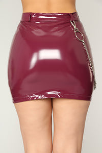 Eliza Chain Strap Skirt - Burgundy