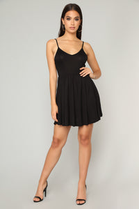 Pretty Playful Skater Dress - Black Angle 1