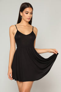 Pretty Playful Skater Dress - Black Angle 4