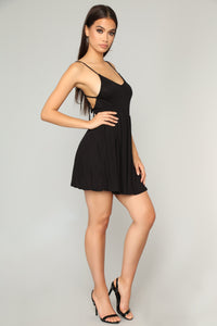 Pretty Playful Skater Dress - Black Angle 2