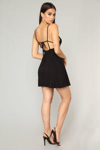 Pretty Playful Skater Dress - Black Angle 3