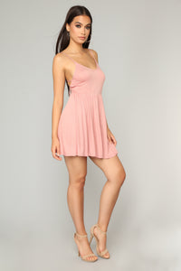 Pretty Playful Skater Dress - Mauve