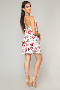 Francesca Floral Mini Dress - Ivory