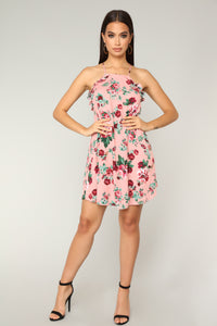 Francesca Floral Mini Dress - Mauve