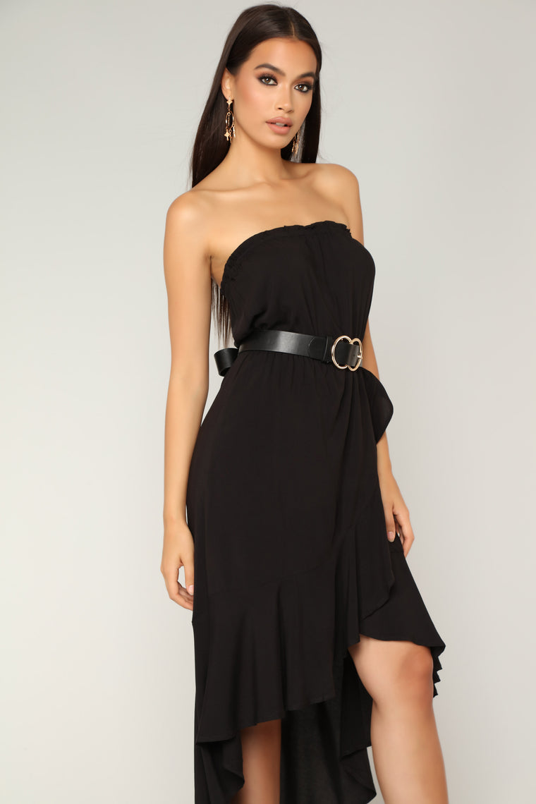 Simple Beauty High Low Dress - Black