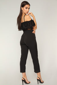 Fashionably Lace Jumpsuit - Black