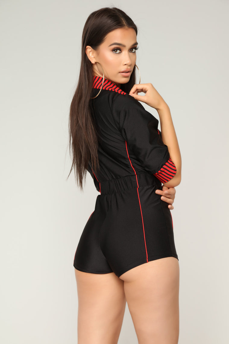 I Want It My Way Romper - Black/Red
