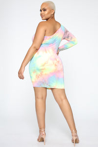 Olivia One Shoulder Tie Dye Dress - MultiColor