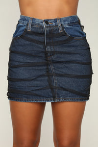 Best Of Both Worlds Distressed Skirt - Dark Wash