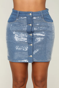 Shine Brighter Sequin Denim Skirt - Blue