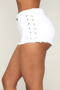 Across Town Lace Up Shorts - White