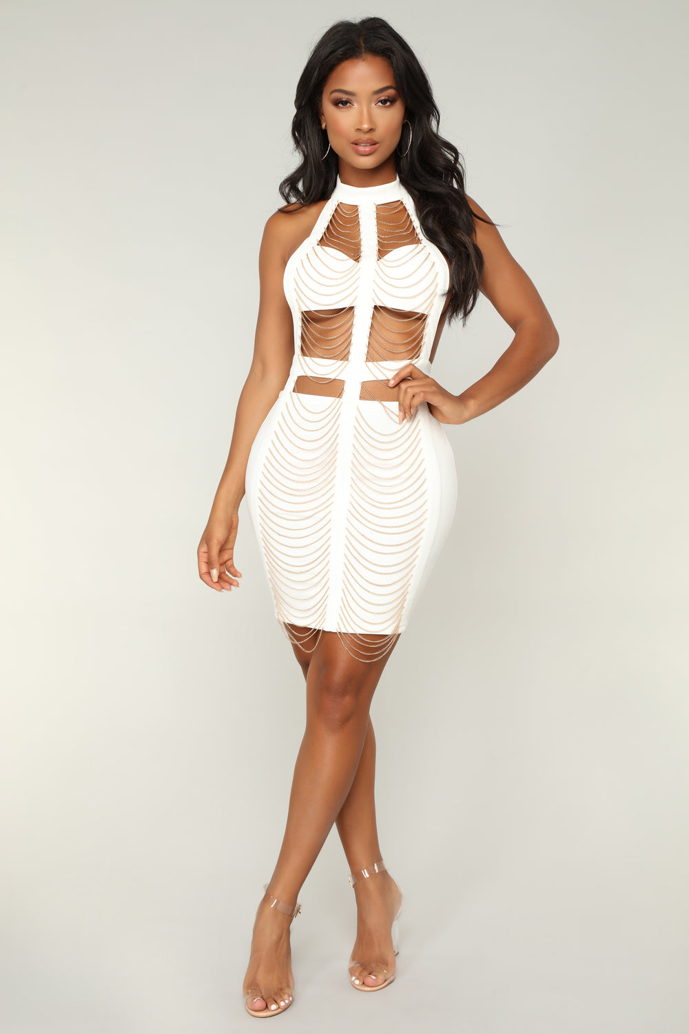 Chained To This Beat Dress - Off White
