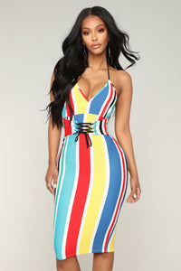 Unwind Lace Up Dress - Multi