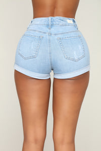 Raleigh Distressed Denim Shorts - Light Blue Wash