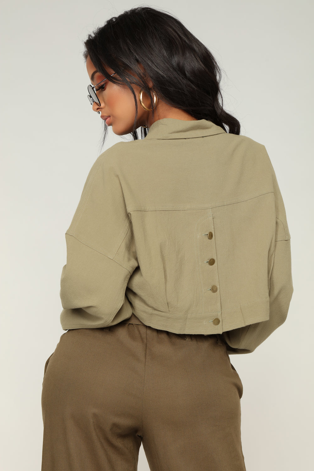 Analia II Cropped Jacket - Olive