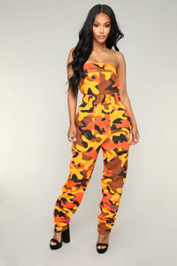 I Need A Soulja Camo Jumpsuit - Orange/Black Angle 1
