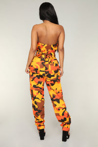 I Need A Soulja Camo Jumpsuit - Orange/Black